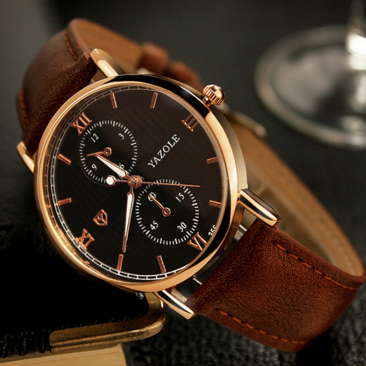 Luminous Men Watch Luxury business Male Quartz WristWatch Leisure Leather Clock Valentines Gift black brown one size