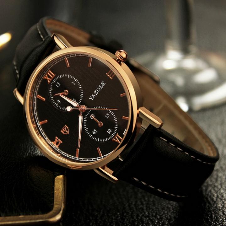 Luminous Men Watch Luxury business Male Quartz WristWatch Leisure Leather Clock Valentines Gift black black one size