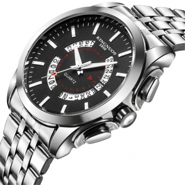Men watch Business Calendar Stainless Steel Watchband Date Clock Quartz WristWatches Valentines Gift black one size