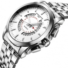 Men watch Business Calendar Stainless Steel Watchband Date Clock Quartz WristWatches Valentines Gift white one size