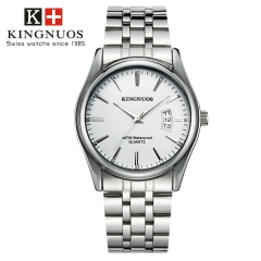 Men Watch Waterproof Date Calendar  Male Stainless Steel Watches Quartz WristWatch Valentines Gift white one size