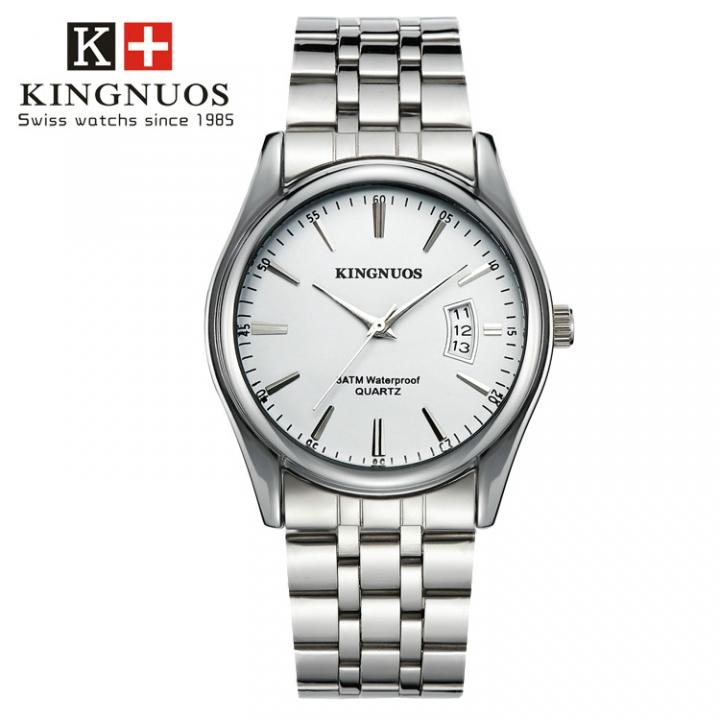 Men Watch Waterproof Date Calendar  Male Stainless Steel Watches Quartz WristWatch Valentines Gift white one size
