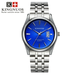 Men Watch Waterproof Date Calendar  Male Stainless Steel Watches Quartz WristWatch Valentines Gift blue one size
