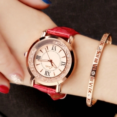 Valentines Gift Fashion Quartz Women Watch Rhinestone Leather Casual Dress Watches Rose Gold Ladies red