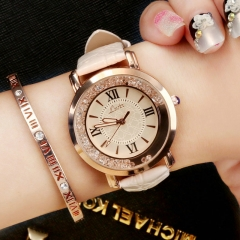 Valentines Gift Fashion Quartz Women Watch Rhinestone Leather Casual Dress Watches Rose Gold Ladies white