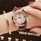 Valentines Gift Fashion Quartz Women Watch Rhinestone Leather Casual Dress Watches Rose Gold Ladies brown