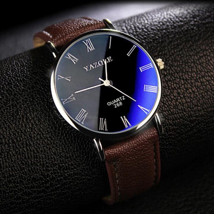 Mens Watches Luxury Men Fashion Business Quartz watch clock Male WristWatches Valentines Gift black brown one size