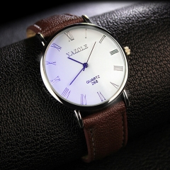 Mens Watches Luxury Men Fashion Business Quartz watch clock Male WristWatches Valentines Gift white brown one size