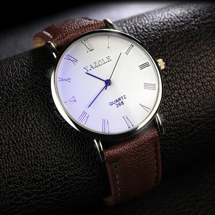Mens Watches Luxury Men Fashion Business Quartz watch clock Male WristWatches Valentines Gift white brown one size