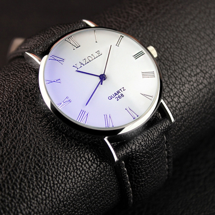 Mens Watches Luxury Men Fashion Business Quartz watch clock Male WristWatches Valentines Gift white black one size