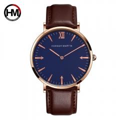 2018Men Quartz Watch Luxury Fashion Leather Strap Casual Sports Watch Business Wristwatch Male Clock blue black one size