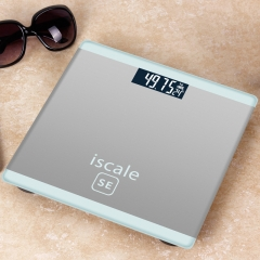 Weight Scale for body Electronic Digital Floor Bathroom Weight Scale LCD Display Backlight180kg/50g Silver 25*25cm