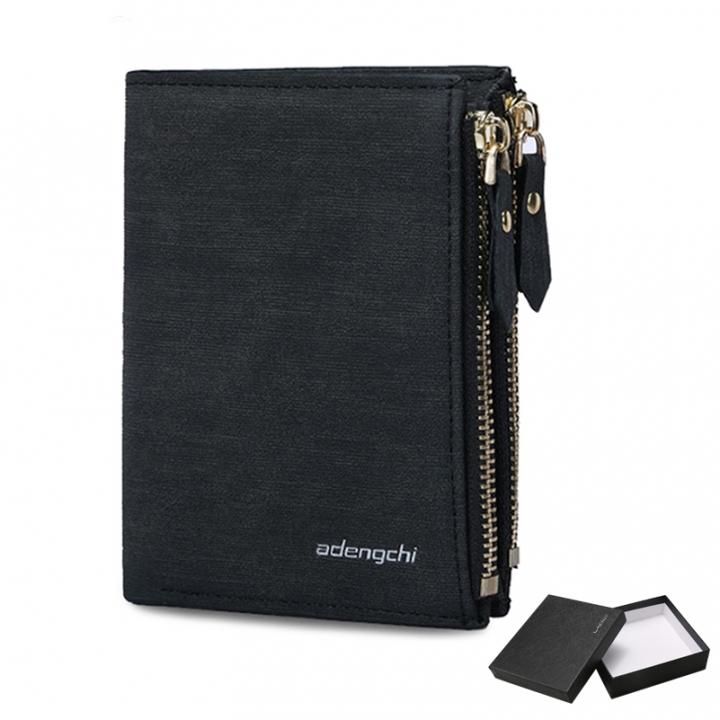 Wallet Men Purse Double Zipper Multifunction Wallet Male Clutch Money Bag Coin Pocket Card Holders black one
