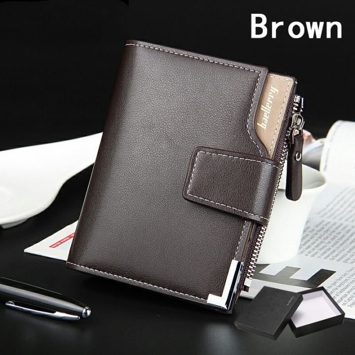 Wallet Men Purse Double Zipper Multifunction Wallet Male Clutch Money Bag Coin Pocket Card Holders brown one