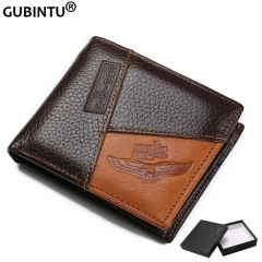 Leather Men Wallets Coin Pocket Zipper Real Men's Leather Wallet with Coin High Quality Male Purse eagle one