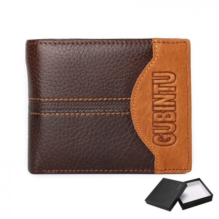 Leather Men Wallets Coin Pocket Zipper Real Men's Leather Wallet with Coin High Quality Male Purse letter one