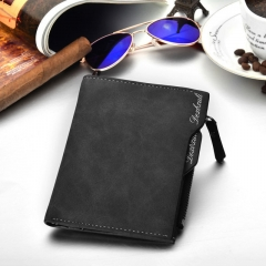 Wallet Men Soft Leather wallet with removable card slots multifunction men wallet purse male clutch black one
