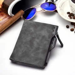 Wallet Men Soft Leather wallet with removable card slots multifunction men wallet purse male clutch gray one