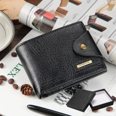 Men Wallets Short Small Wallets pu leather Male Mens Purses Card Holder with Photo Holders gift black 1 one