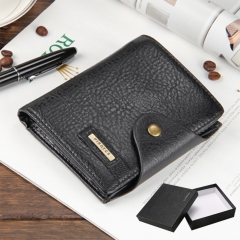 Men Wallets Short Small Wallets pu leather Male Mens Purses Card Holder with Photo Holders gift black 2 one