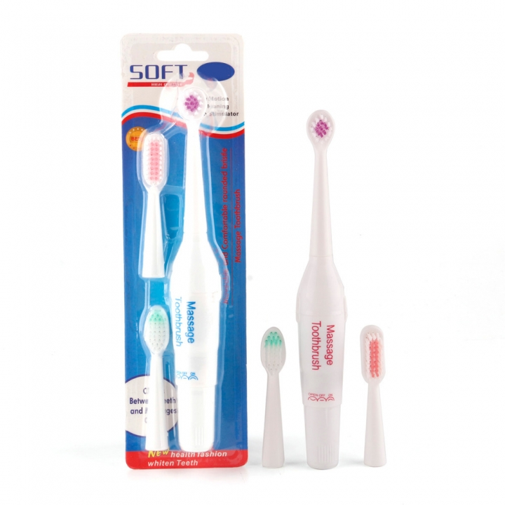 1Pcs Generic Battery Operated Electric Toothbrush with 3 Brush Heads Oral Hygiene Health ProductsS Random Color one