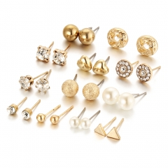 12 pair/set Women Square Crystal Heart Stud Earrings for Women Piercing Simulated Pearl Earrings gold as picture