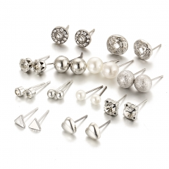 12 pair/set Women Square Crystal Heart Stud Earrings for Women Piercing Simulated Pearl Earrings silver as picture