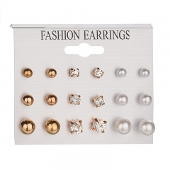 9 Pairs/Set Crystal Mock Pearl Stud Alloy Earrings Piercing Fashion Earrings For Women LadiesJewelry gold as picture