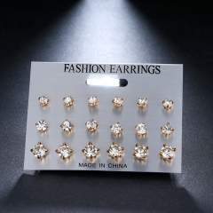 9 Pairs/set Square Crystal Stud Earrings Piercing Gold Silver Color Earrings For Women Jewelry gold as picture