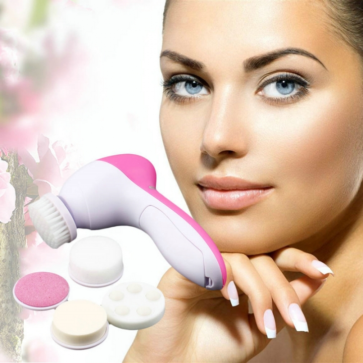 5in1 face cleansing brush facial brush Skin Massage Electric brush  mutifunction Pore Face care wash Pink
