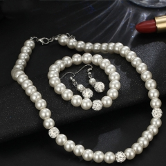 Necklaces For Women Bracelets Dangle Earrings Costume Jewelry Fashion Mock Pearl Jewelry Sets white as picture