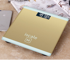 Weight Scale for body Electronic Digital Floor Bathroom Weight Scale LCD Display Backlight180kg/50g Gold 25*25cm