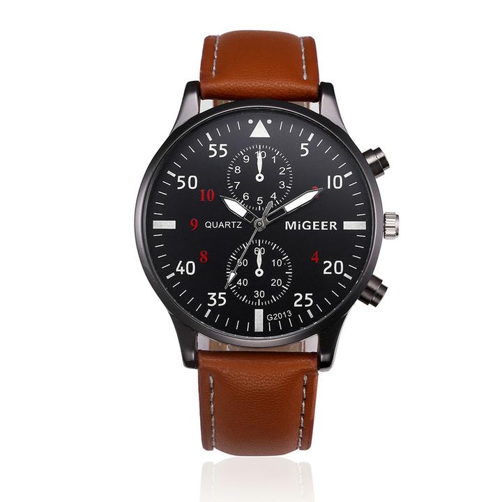 2019 Watches Men Fashion Casual Leather Business Quartz-Watch Men Sport Watch Male WristWatches brown one size