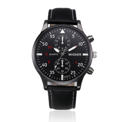 2019 Watches Men Fashion Casual Leather Business Quartz-Watch Men Sport Watch Male WristWatches black one size