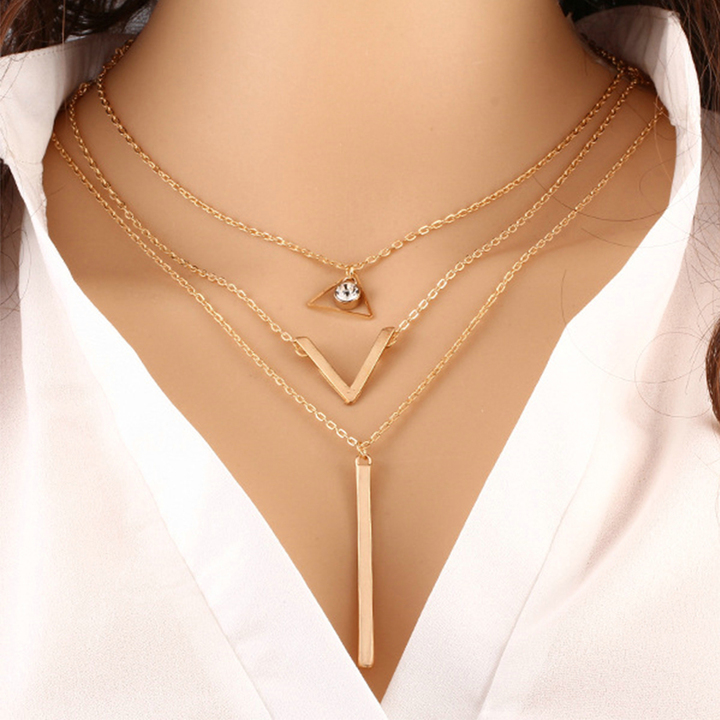 Women Necklaces  Pendants 3 multi layer Necklace Tassel Charm Bar statement Necklace Valentines Gift gold as picture
