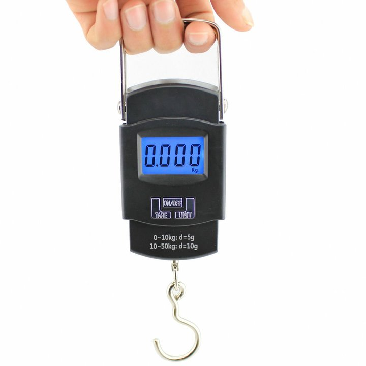 Electronic Digital Scale Hanging Hook Fishing Travel Luggage Weight Scale Baggage Steelyard 50KG/10g black one
