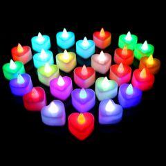 2PCS Wedding Valentine's Day Colorful Mini Electronic Candle Heart Shape Flashlight colorful 3.6x3.6cm LED