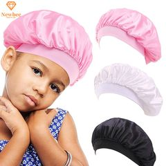 Kids Satin Bonnet Sleeping Cap Hat Head Hrap Girl Boy Satin Cap Night Sleep Hat Child Silk Headscarf Pink 13cm/27cm