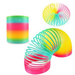 Rainbow Coil Spring Toy Plastic Spring  Baby Toys Great Gift for Boys and Girls Birthday Christmas A-Rainbow colors