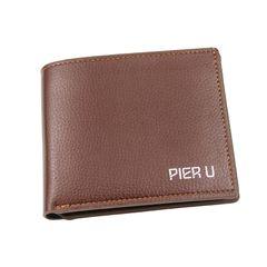 Random Color Men Wallet Short Style Card Holder Male Purse Money Bag Card Clip Christmas gifts brown 12x9.5x1.5cm