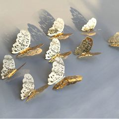 Christmas gifts 12Pcs/Set 3D Gold Silver Butterfly Wall Stickers Decals Home Decor for Party Wedding gold as picture