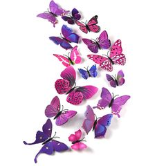 12pcs Decal Wall Stickers 3D Butterfly Rainbow PVC Wallpaper for living room Purple 12pcs/bag