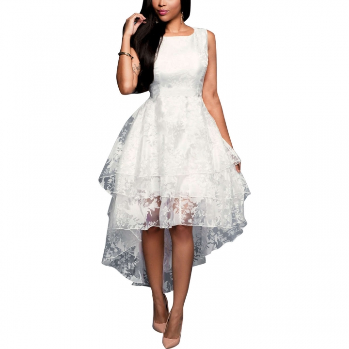 Lace Women Sleeveless Dress White Long One-piece Dentelle Party Dresses White S