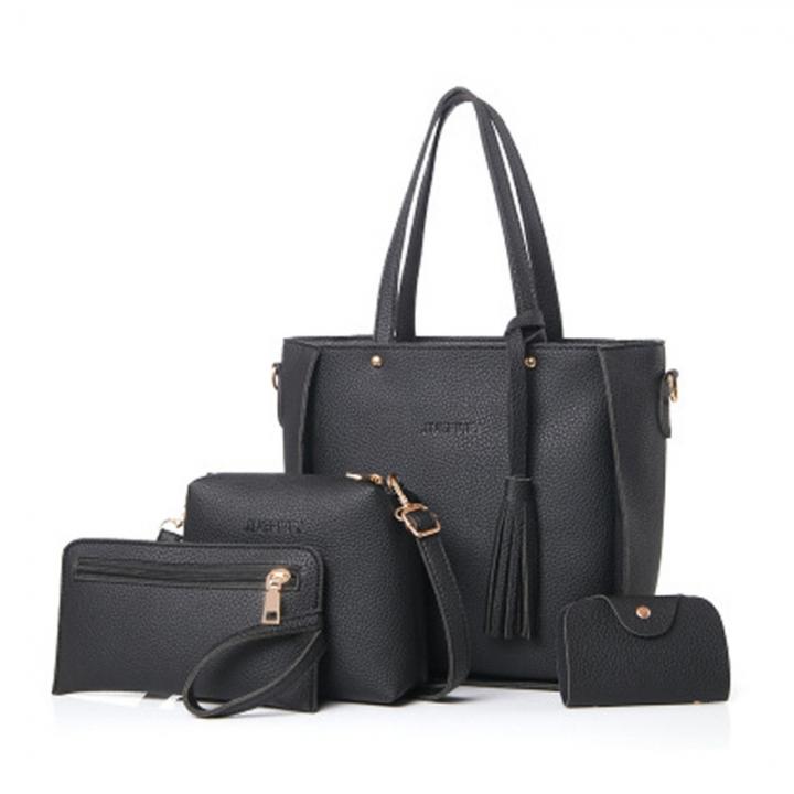 New Women Handbag Pouch Bags Card Bag Shoulder Bag Totes Purse 4pcs Set Composite Bags Crossbody Bag black as picture