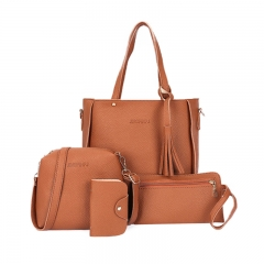 New Women Handbag Pouch Bags Card Bag Shoulder Bag Totes Purse 4pcs Set Composite Bags Crossbody Bag brown as picture