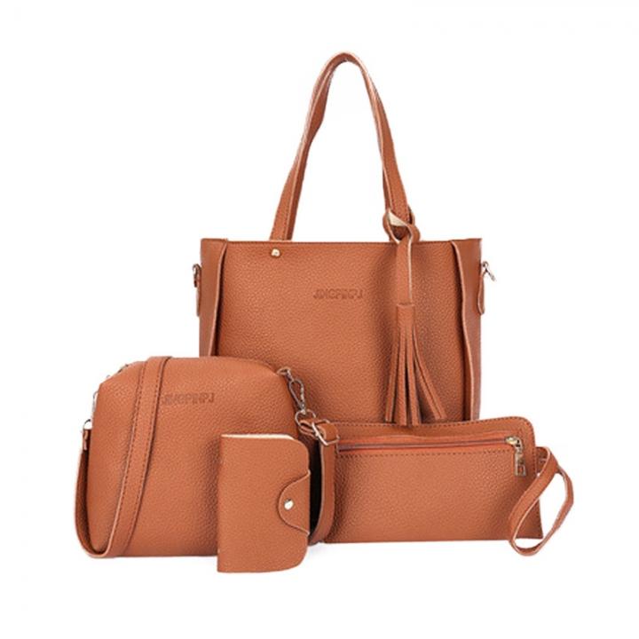 New Women Handbag Pouch Bags Card Bag Shoulder Bag Totes Purse 4pcs Set Composite Bags Crossbody Bag brown as picture
