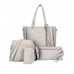 New Women Handbag Pouch Bags Card Bag Shoulder Bag Totes Purse 4pcs Set Composite Bags Crossbody Bag gray as picture