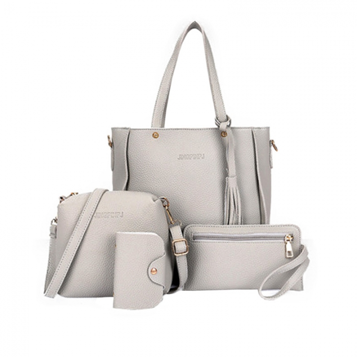 New Women Handbag Pouch Bags Card Bag Shoulder Bag Totes Purse 4pcs Set Composite Bags Crossbody Bag gray as picture