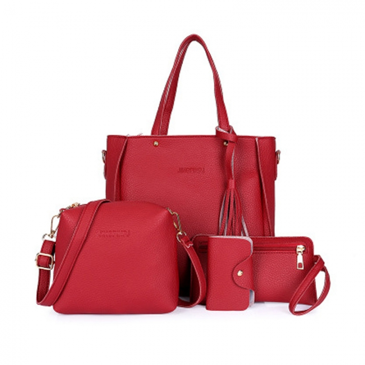 New Women Handbag Pouch Bags Card Bag Shoulder Bag Totes Purse 4pcs Set Composite Bags Crossbody Bag red as picture