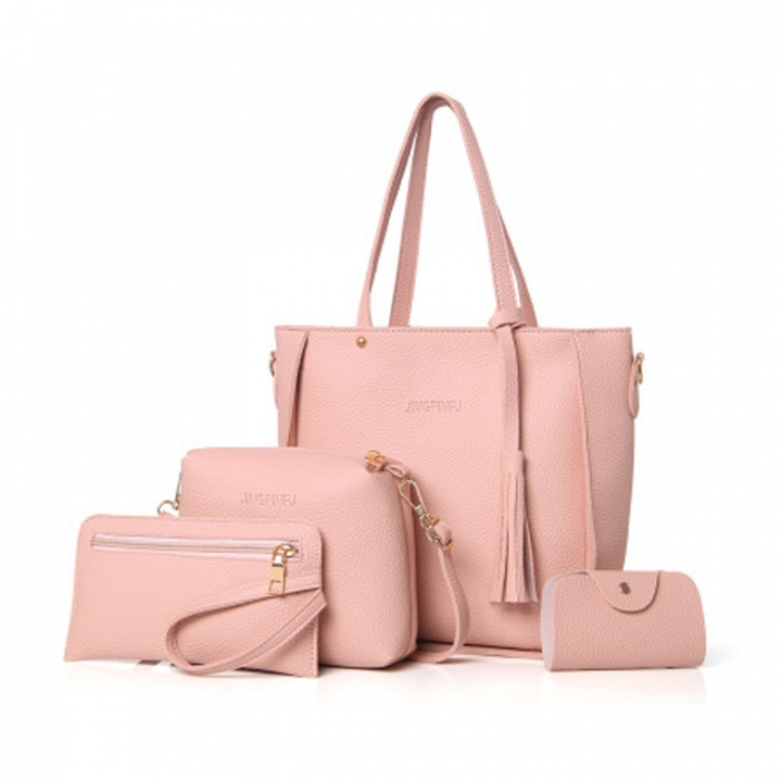 New Women Handbag Pouch Bags Card Bag Shoulder Bag Totes Purse 4pcs Set Composite Bags Crossbody Bag pink as picture